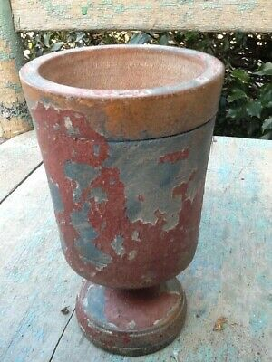 Early Primitive Wooden Goblet Small Footed Cup Old Blue - Red Paint Tavern