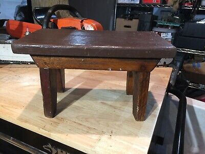 SMALL WOODEN PRIMITIVE FOLK ART ANTIQUE FOOT STOOL