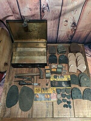 Antique Cobblers Tool Divided Box Leather Hinges Filled up