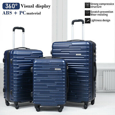 3 Piece Luggage Set Trolley Travel Suitcase ABS-PC Hardside Nested Spinner Blue