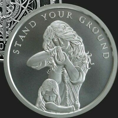 2 oz silver Stand Your Ground .999 Pure Fine COA BU Silver Shield NRA Army Navy