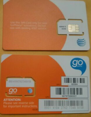 AT-T SIM CARD 3G4G PREPAID GO PHONE 3G READY TO ACTIVATE-SKU 6006a