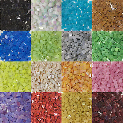 Colorful Square Stained Glass Mosaic Tiles 10x10mm DIY Crafts Art Pieces Hobbies