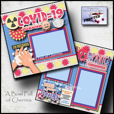 QUARANTINE  pandemic 2 premade scrapbook pages paper printed CHERRY 0137