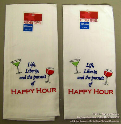2 NEW FOURTH 4th OF JULY TOWELS PATRIOTIC LIFE LIBERTY PURSUIT HAPPY HOUR WINE