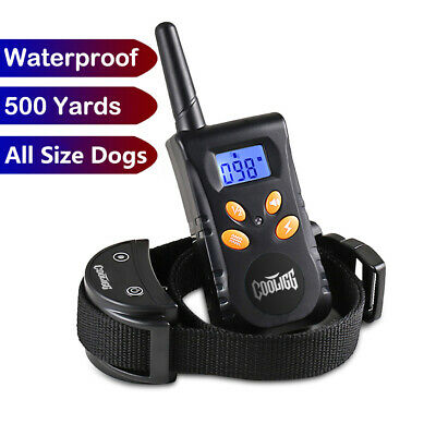 Dog Shock Training Collar Rechargeable Remote Control Waterproof IP67 500 Yards