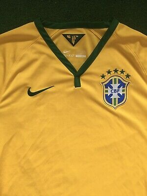 Nike AUTHENTIC Brazil 2014 World Cup Yellow Jersey Men's Large