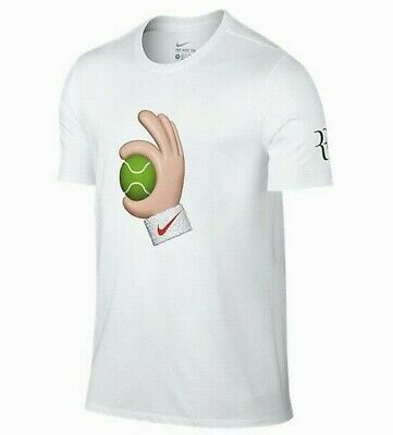 NIKE Mens Tennis Federe Emogi RF OK Ball Wimbledon White T Shirt Mens Medium