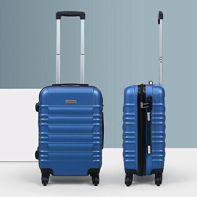 20 ABS Carry On Luggage Hardside Nested Spinner Trolley Travel Suitcase Blue