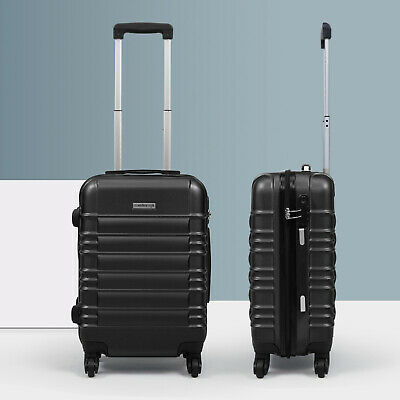 20 ABS Carry On Luggage Hardside Nested Spinner Trolley Travel Suitcase Black
