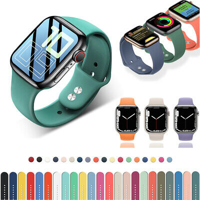 38404244mm Silicone Sport iWatch Band Strap for Apple Watch Series 6 5 4 3 SE