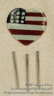 New Fourth 4th of July Heart Shaped Flag Glass Garden Windchime RED WHITE BLUE