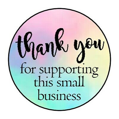 THANK YOU SUPPORTING BUSINESS STICKER LABEL ENVELOPE SEAL 1-2 OR 1-5 ROUND