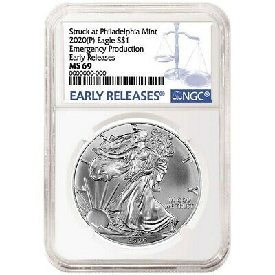 2020P Emergency Production American Silver Eagle - NGC MS69 Early Releases