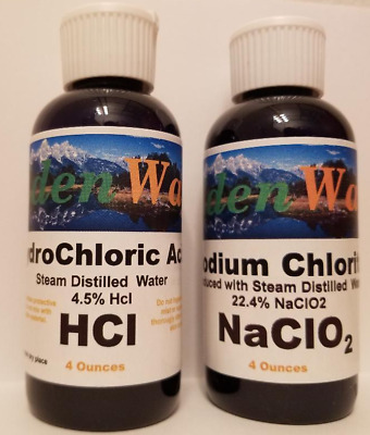 Water Purification - Disinfectant With Chlorite Solution NaClo2 - HCl 4oz each