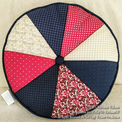 NEW 4TH FOURTH OF JULY PATRIOTIC AMERICAN ROUND SHAPE PILLOW RED WHITE BLUE