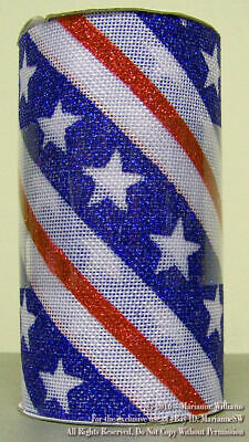 NEW FOURTH 4th OF JULY 6 FABRIC CRAFT RIBBON 5 YARDS PATRIOTIC RED WHITE - BLUE