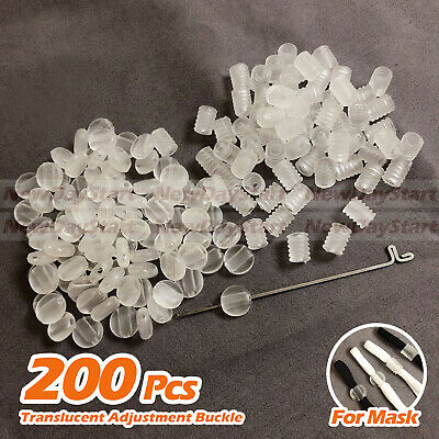 200pcsTranslucent Adjustment Buckle For Mask Ear Elastic Cord Adjustable Stops