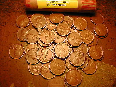 "LINCOLN WHEAT CENT PENNY ROLL MIXED THIRTIES, ALL ""S"" MINTS!!!"