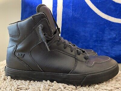 SUPRA Vaider Mens Skateboarding Shoes S28294 Black  Red Carpet Size 12 Used