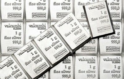 10 x 1 gram Valcambi Suisse Silver Bars  -999  Lot of 10  Volume Pricing