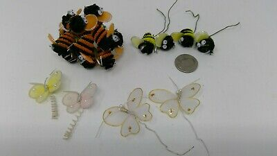 15 Vintage Chenille Bumble Bees - 4 Butterflies Wired Floral Crafts Corsage Pick