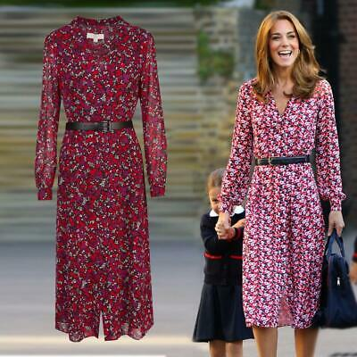 NWT Kate Middletons Michael by Michael Kors Belted Midi Dress sx XS