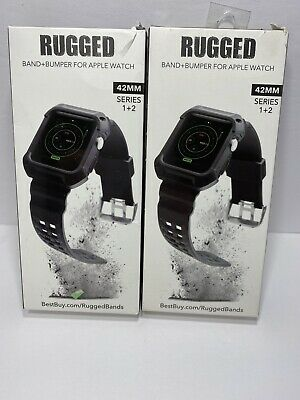 LOT OF 2 Rugged WERB04201 Black Band for Apple Watch 42mm 44mm Series 1 2 3 4 5