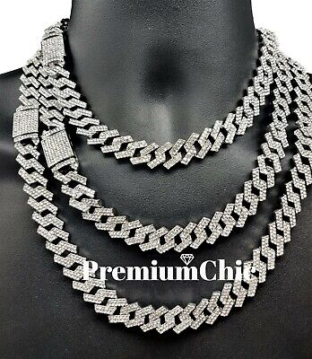 ICED Miami Cuban Link Chain Necklace or Bracelet Diamond Prong Hip Hop Jewelry