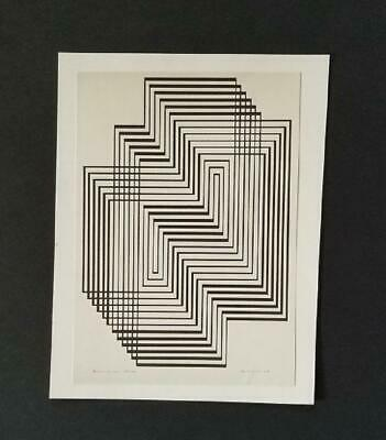 Josef Albers Ascension From Graphic Tectonic Mounted bw Litho 1973 PlateSigned