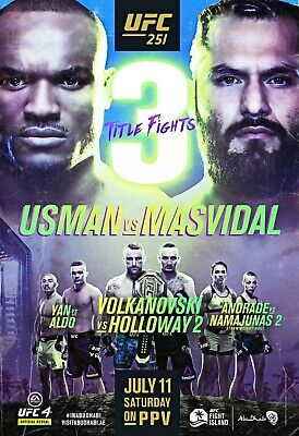 UFC 251 Poster - Usman vs Masvidal - Volkanovski vs Holloway - Yan vs Aldo - NEW
