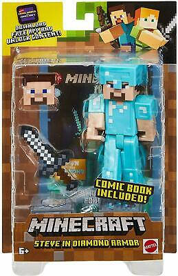 NEW Minecraft Comic Maker Steve in Diamond Armor Action Figure w Comic Book