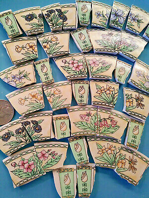 CHANTILLY FLOWERS   BROKEN CHINA PLATE MOSAIC TILES Shards Fill GARDEN FUN