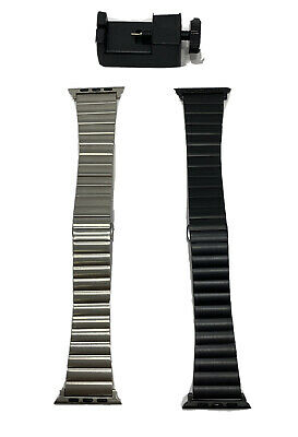 Lot Of 2 Platinum Stainless Steel Link Watch Band for Apple Watch 42mm - 44mm