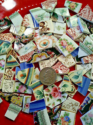 SHABBY ROSE FLORAL SHARDS   BROKEN CHINA PLATE MOSAIC TILES Pink Green Blue