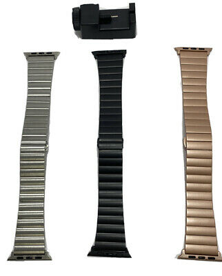 Lot Of 3 Platinum Stainless Steel Link Watch Band for Apple Watch 42mm - 44mm