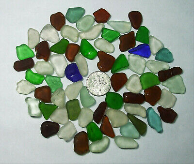 Lot of 65 Pieces Small GENUINE Beach Sea Glass Mix Surf Tumbled  Hawaii