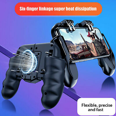 Mobile Gaming Controller 6 Finger With Cooling Fan For Fortnite PUBG Android