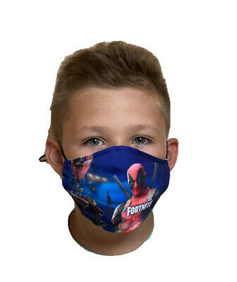 Fortnite Deadpool Face Mask With Removable Filter Kids Ages 5-15