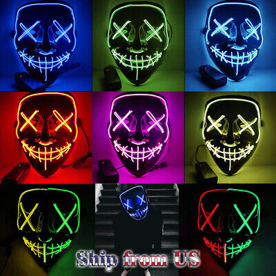 The Purge Rave Party Light Up Stitches Scary LED Mask Costume Cosplay Halloween