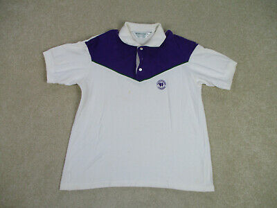VINTAGE Wimbledon Polo Shirt Adult Large White Purple Tennis Athletic Mens 90s