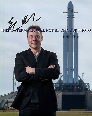 ELON MUSK SPACEX SIGNED AUTOGRAPH 8x10 RPT PHOTO W FALCON HEAVY ROCKET AMAZING