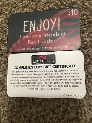 5 set Red Lobster  10 GIFT CARD  EXPIRES 12-31-2020 FREE SHIPPING Free Meal