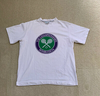 Vintage VTG 90s Wimbledon The Championships Tennis Graphic Shirt Size Medium