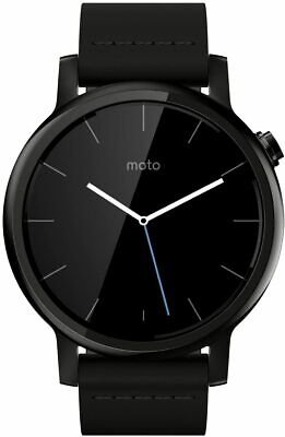 NEW Motorola Moto 360 2nd Gen 42mm Black Metal Case - Black Silicone Band