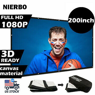 Projector Screen 200inch Outdoor Big 169 3D Portable Movie Screen with Bag USA