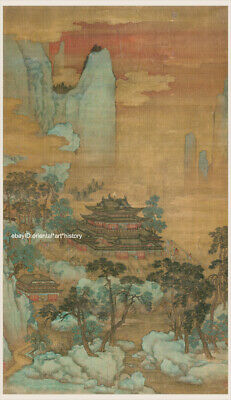 Chinese scroll painting Mountain landscape Dwellings in mountain of immortals