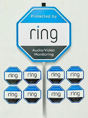 Home Ring Security Yard Sign 8 Double Sided WindowDoor Sticker w Aluminum Pole