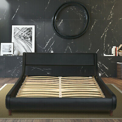 King Queen Full Size Bed Frame, PU-Leather Headboard Platform with Wood Slats