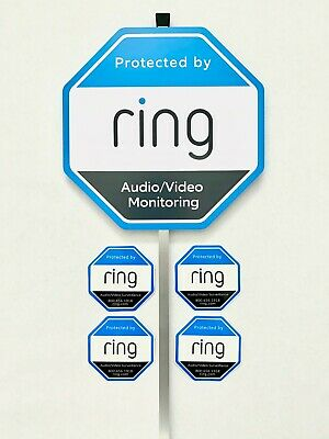 Home Ring Security Yard Sign 4 Double Sided WindowDoor Sticker w Aluminum Pole